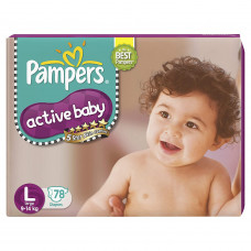 Pampers Active Baby Large Diapers (Pack of 78)