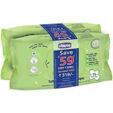 Chicco Soft Cleansing Wipes Without Flip - (Pack Of 2 - 72 Pcs Each)