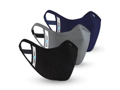 Safe+Mate Adult Large / X Large 3 Pack(BlackNavy,Gray) Cloth Face Mask